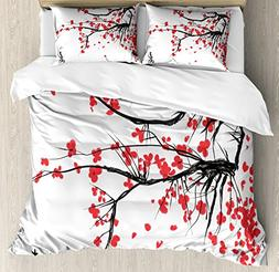 Ambesonne Nature Duvet Cover Set Queen Size, Sakura Blossom