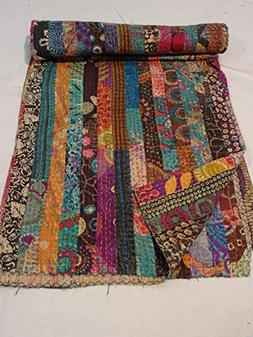 Tribal Asian Textiles Indian Ikat Kantha Quilt Embroidered B