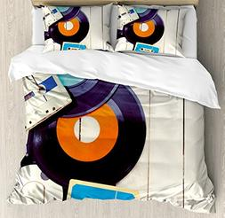 Ambesonne Indie Duvet Cover Set Queen Size, Gramophone Recor