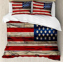 Ambesonne 4th of July Duvet Cover Set Queen Size, Wooden Pla