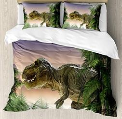 Ambesonne Jurassic Decor Duvet Cover Set Queen Size, Dinosau