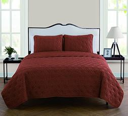 VCNY Home Kaleidoscope 3 Piece Embossed Quilt Set, Full/Quee