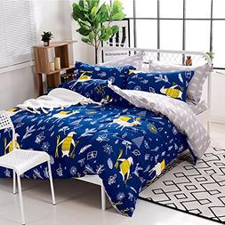 Uozzi Bedding 3 Piece Kids Duvet Cover Set with Zipper Closu