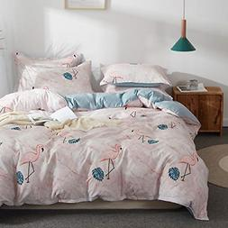Uozzi Bedding Kids Flamingo 3 Pieces Queen Duvet Cover Set H