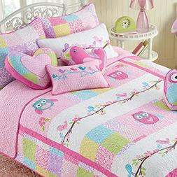 Cozy Line 100% Cotton Pink Owl 3 Pcs Cute Reversible Quilt S