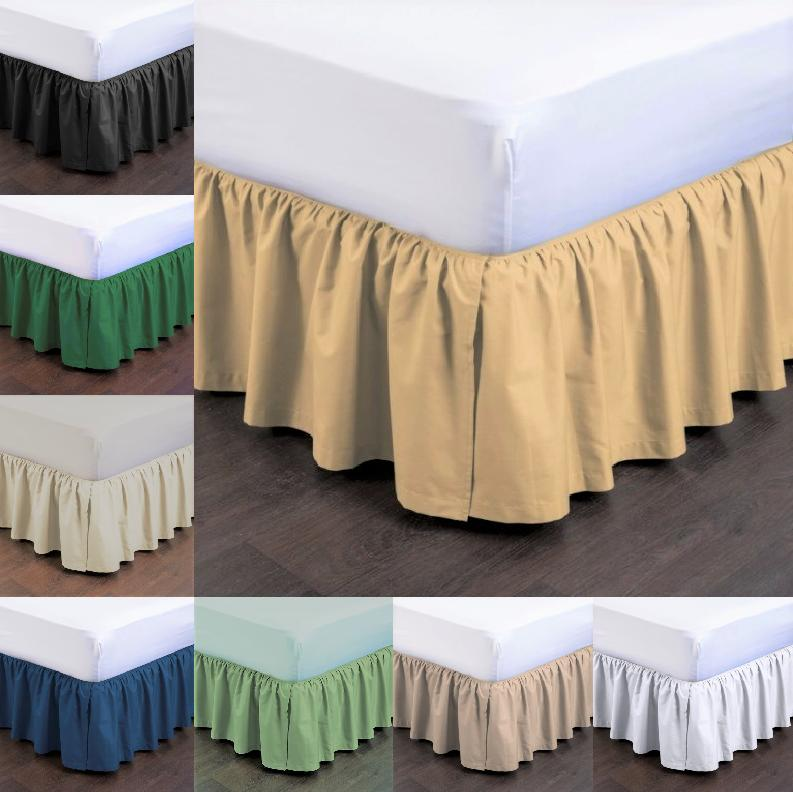 """1PC BEDDING DRESSING BED PLEATED SKIRT WITH OPEN CORNERS 14"""""""