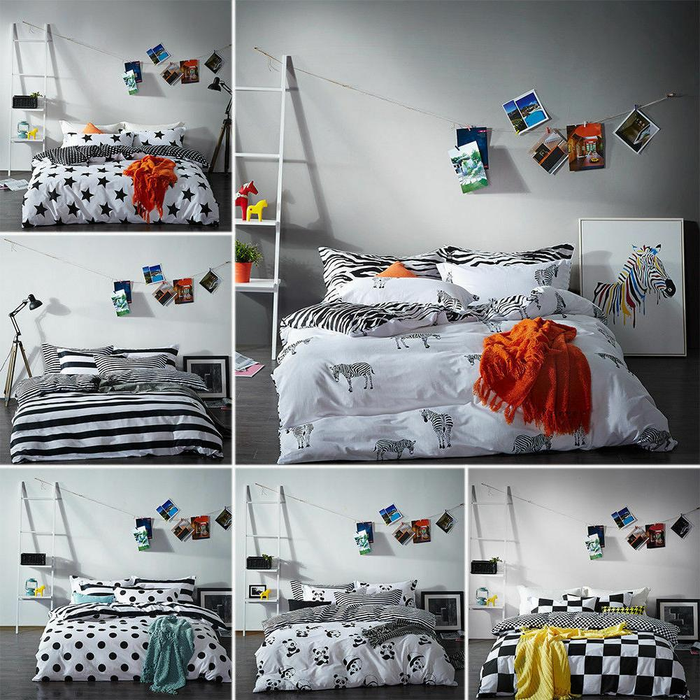 100% Cotton Black White Bedding Set Duvet Cover Flat Sheet T
