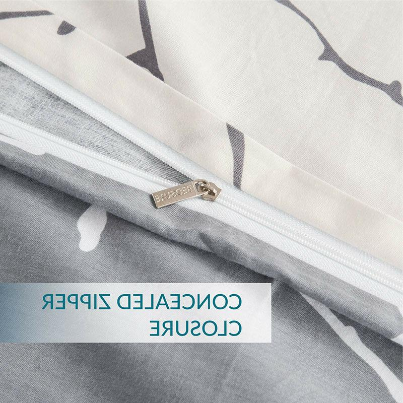 Bedsure Cotton Cover Grey Comforter Bedding Sets