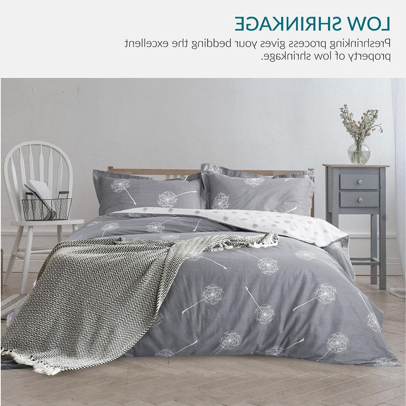 Bedsure 100% Cotton Duvet Cover Reversible Comforter Cover Bed Set