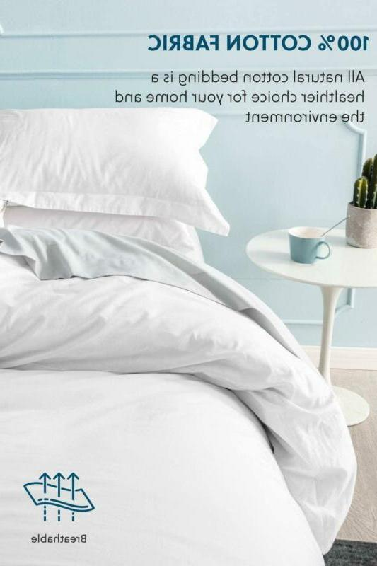 Bedsure Washed Cotton Duvet Cover Queen Full White Set