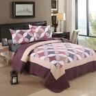 3 Piece Floral Patchwork Bedding Set Cozy Polyester Quilt Pi