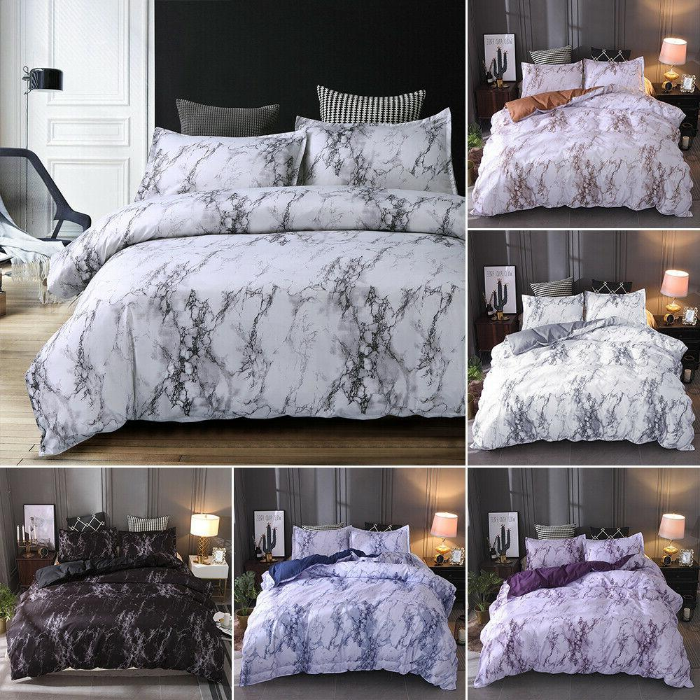 3 pieces set marble printed comforter duvet