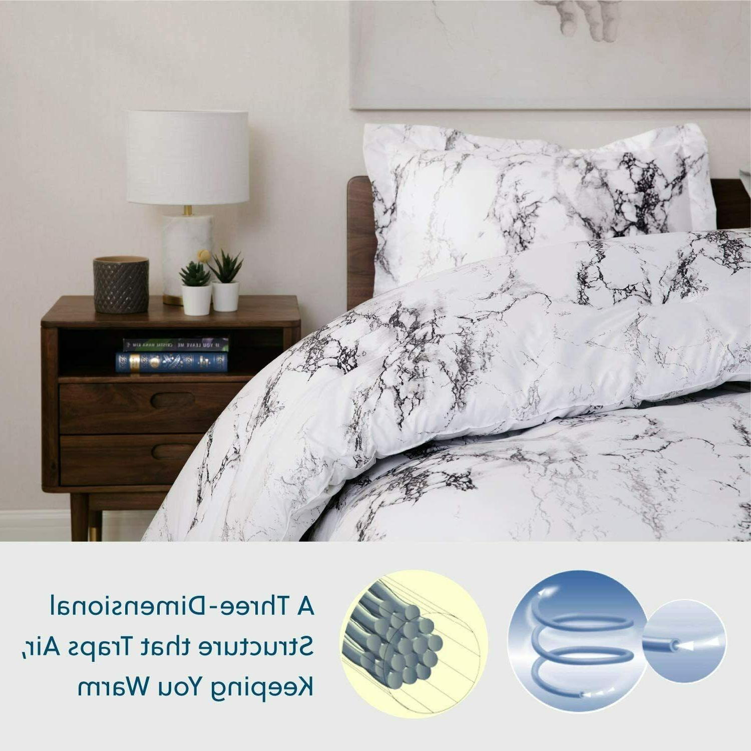 3pc White Marble Printed Duvet Cover Cover Queen/King