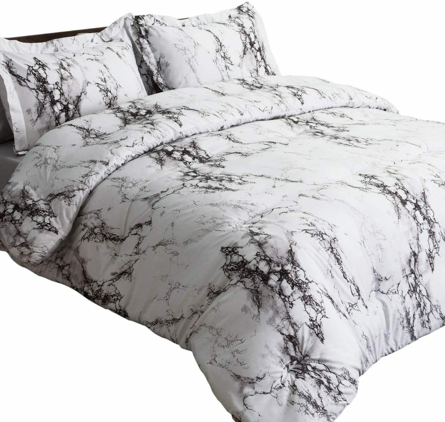 3pc White Marble Duvet Cover Set Cover Bedding Set Queen/King