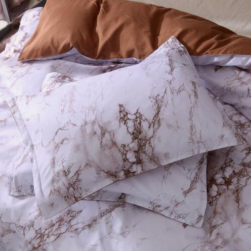 3PCS Cover Bedsure Marble Comforter Bedding Quilt