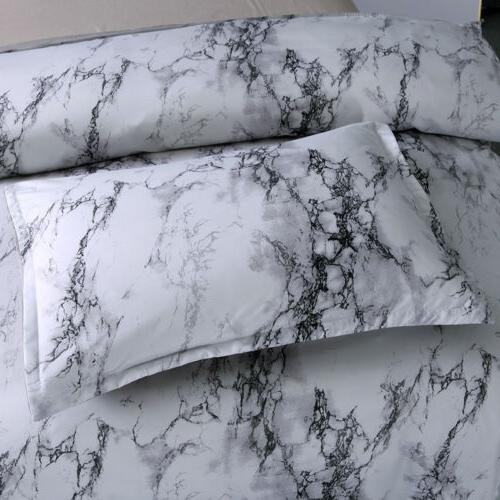3 Pieces Set Marble Printed Cover Queen Bedding Quilt Set