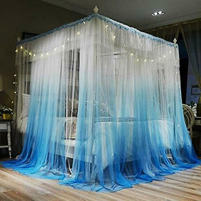 """4 Post Canopy Bed Curtains - Blue """" Cozy Drape Netting"""