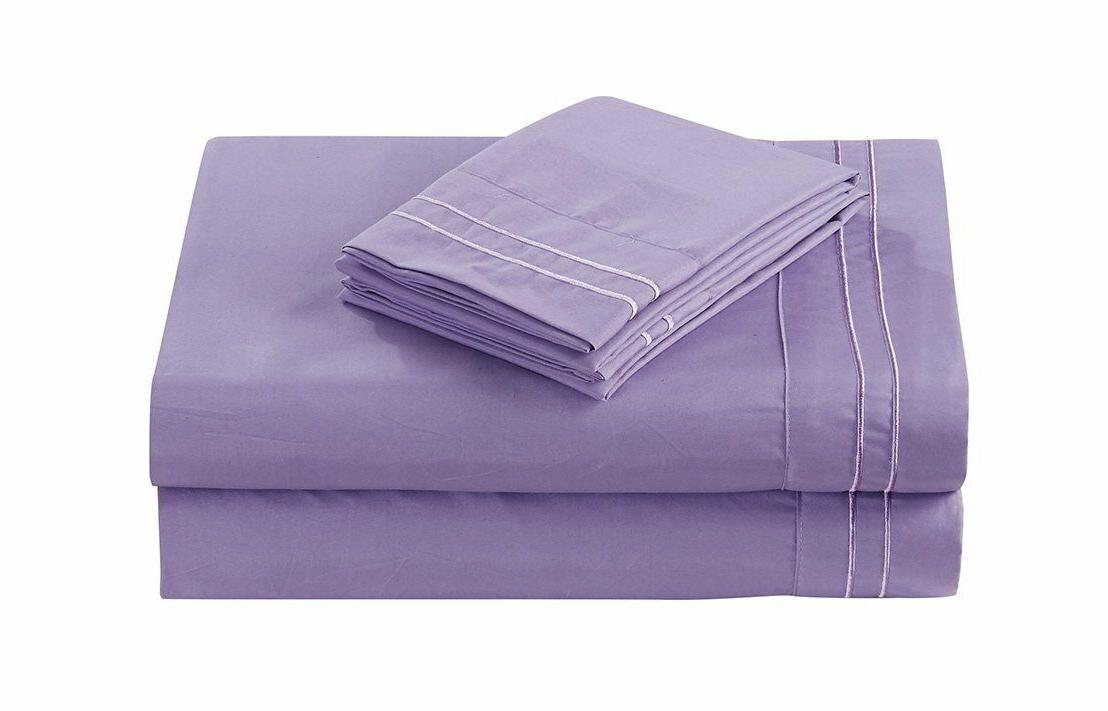 4 pc embroidery bedding purple lavender sheet