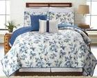 5 Piece Blue Leaves Reversible Oversized Quilt Bedspread Cov