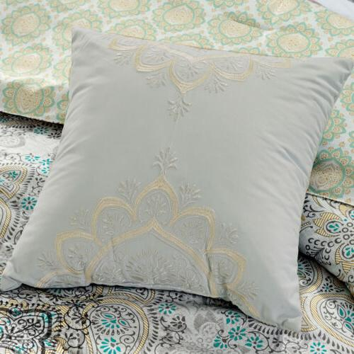 Chezmoi 7-Piece Scroll Medallion Embroidery Comforter Set