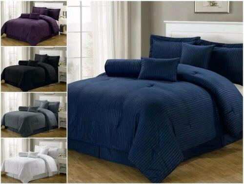 7 pieces solid color hotel dobby stripe