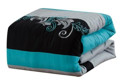 7pc Luxury Scroll Embroidery Gray Black