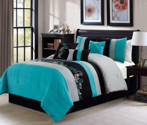 7pc luxury floral leaves scroll embroidery teal