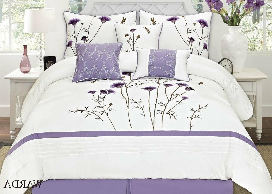 7pc queen embroidery comforter set off white
