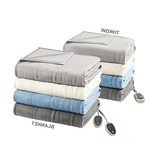 "Beautyrest Blanket Throw Set - Grey - Queen Size x 90"" Throw 50"" with 3"