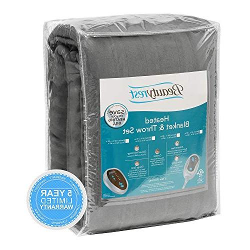 "Beautyrest Blanket and Throw Set - Grey Queen Size Blanket x Throw 50"" with Heat-Regulating"