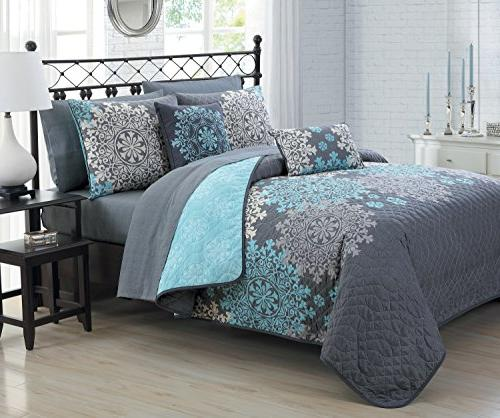 Geneva Home Fashion 9 Piece Amber Quilt in a Bag Set, Queen,