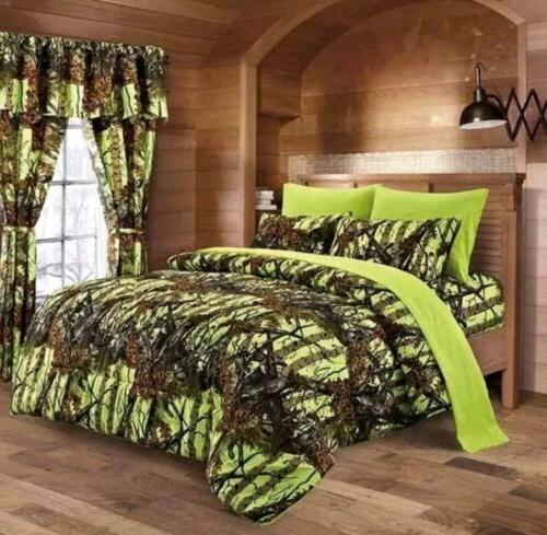 WOODLAND QUEEN SIZE 7PC SET WOODS CAMO COMFORTER SHEET SET C