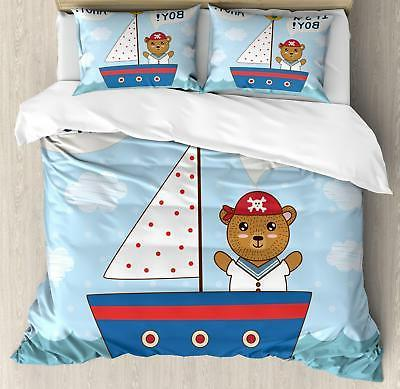 Ahoy Its a Boy Duvet Cover Set Twin Queen King Sizes with Pi