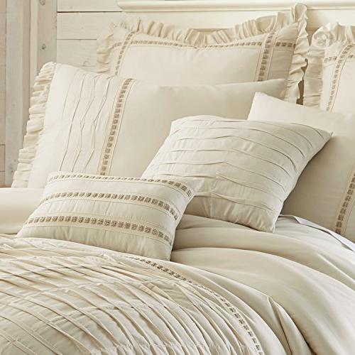 Amrapur Pleated Comforter Set, Queen, Beige