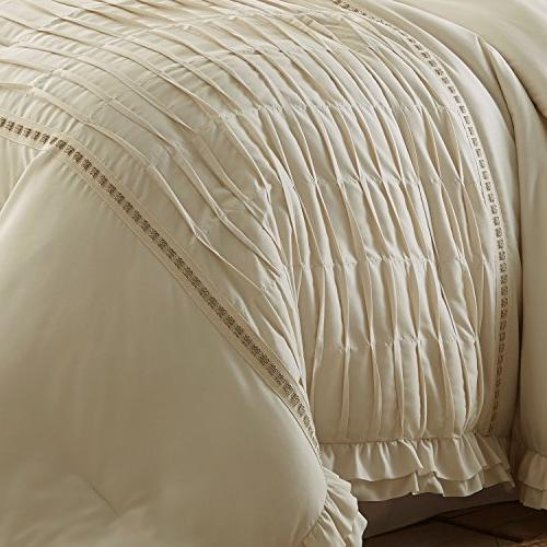 Amrapur Overseas Antonella Pleated Comforter Set, Queen, Beige