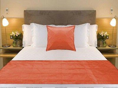 Bed Runner + pillow cover Orange quilted bed Scarf Twin Quee