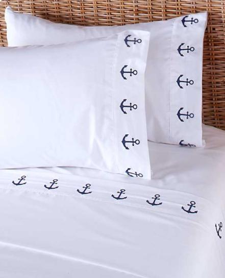 Bedding Queen or King Size Sheet Sets White Nautical Anchor