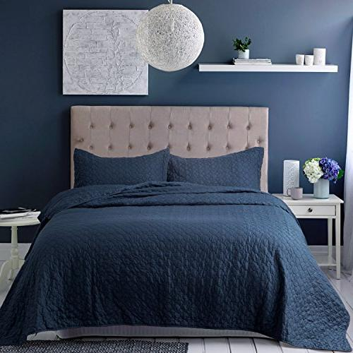 bedding quilt set queen blue
