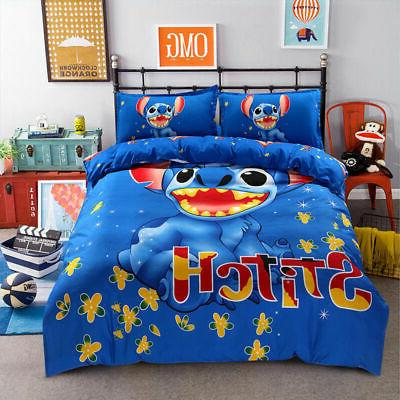 Bedding Set cartoon kids Stitch bedclothes covers 4 pcs full