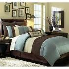 Beige Blue-Teal and Brown Luxury Stripe 8 Piece King Size Co