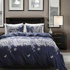 Blue Floral Bedding White Leaf Printed Bedding Blue and Whit