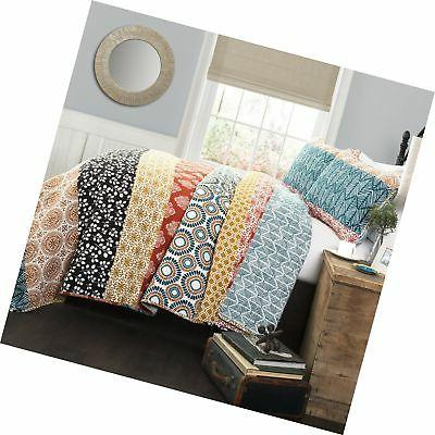 bohemian stripe quilt set