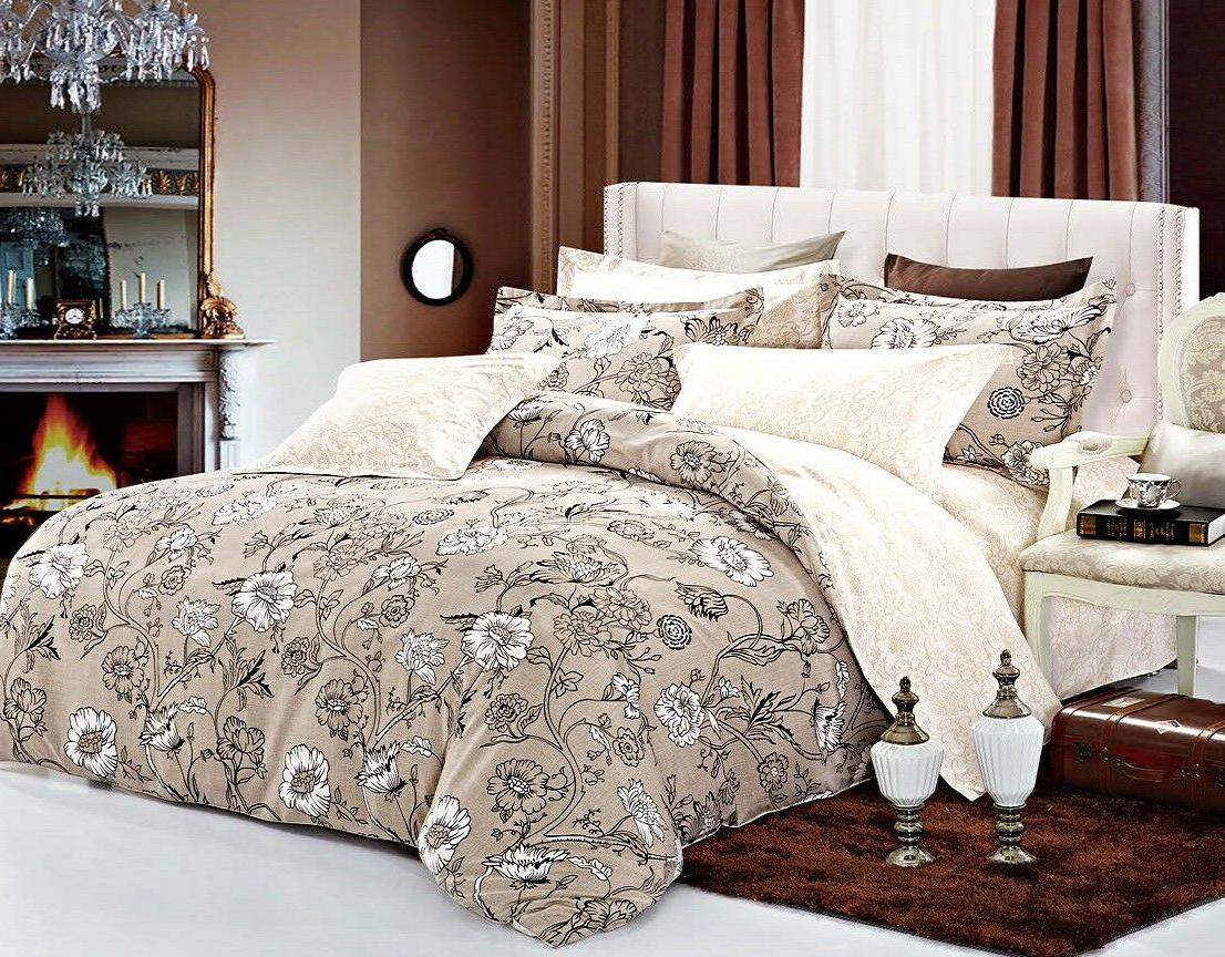 Brown Floral 3pc Bedding Set:1 Duvet Cover and 2 Pillow Sham