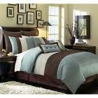 Chezmoi Collection 8 Pieces Luxury Striped Comforter Set (Qu