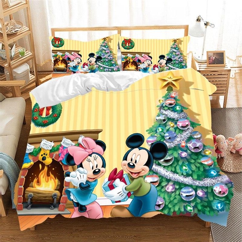 Mickey Christmas Claus Bedding Cover Children Queen <font><b>King</b></font> Nightmare Christmas