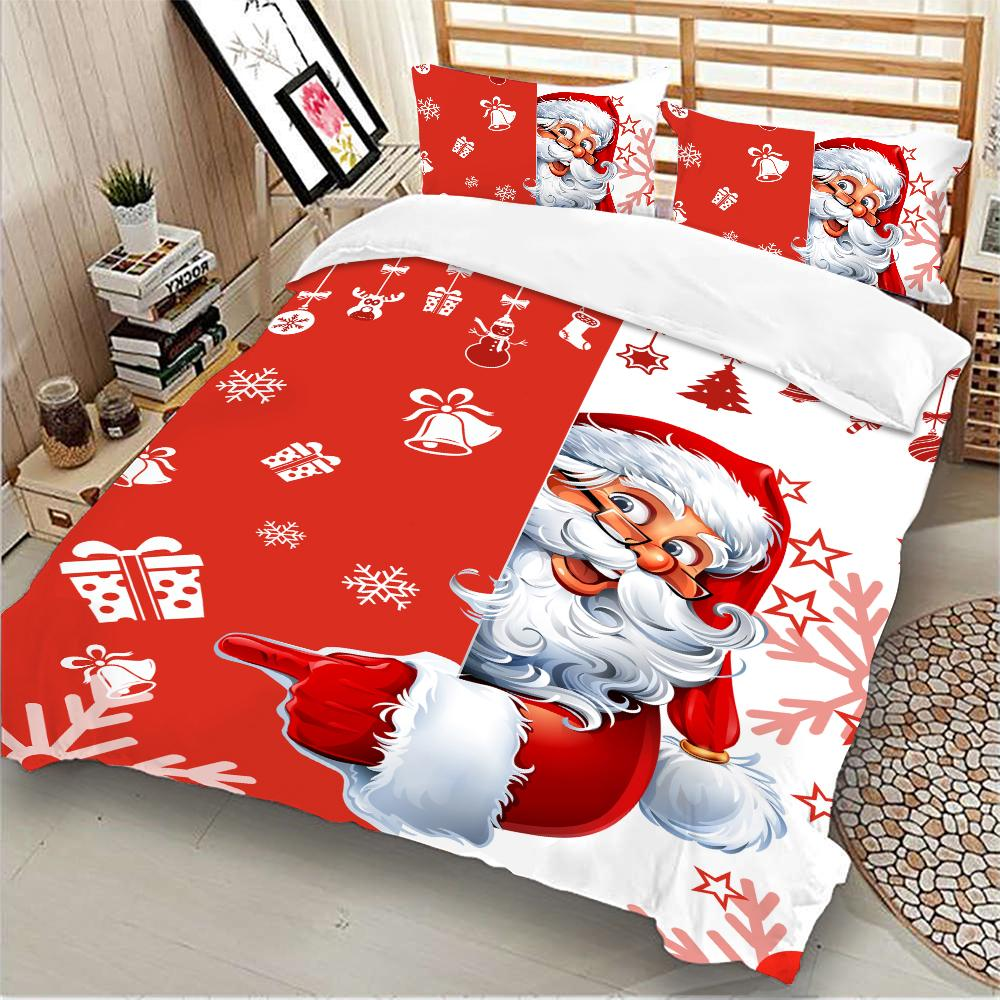 Christmas Claus Xmas printed Duvet Quilt printed bed queen 3pcs