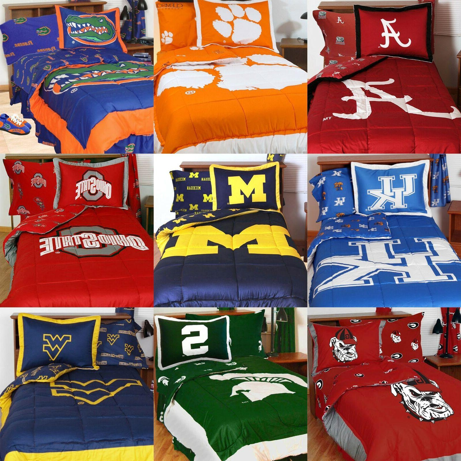 NCAA COLLEGE BEDDING SET - Bed in a Bag Comforter Sheets Tea