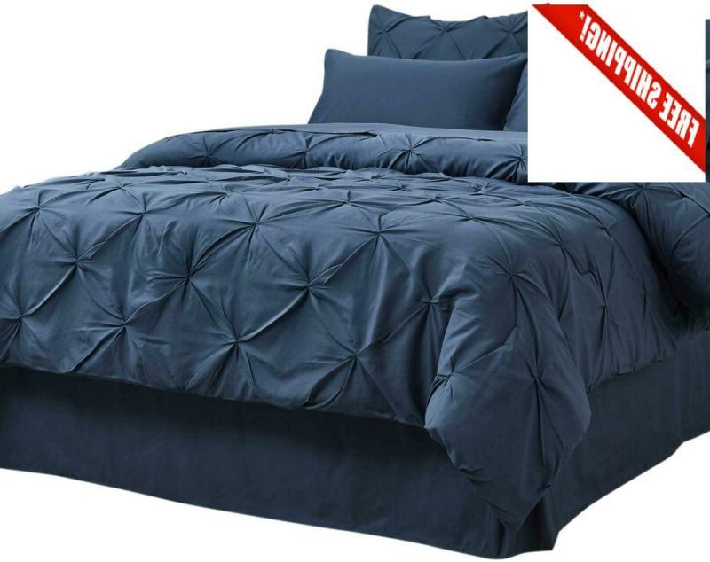 Comforter Set Full/Queen Bed In A Bag Navy 8 Pieces - 1 Pinc