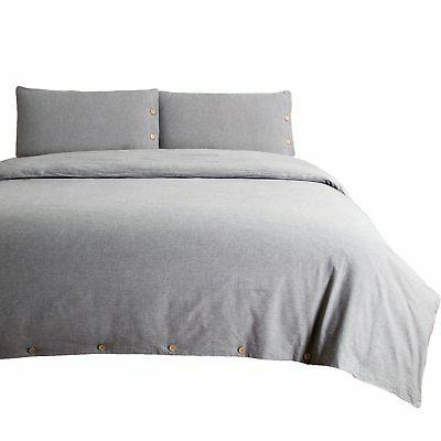 Bedsure Cotton Duvet Cover Sets King Size Grey Bedding Set 3
