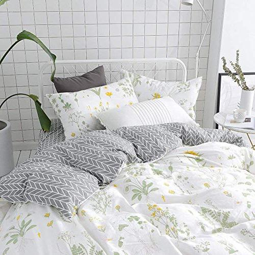 VClife Floral Sets Queen Sets Yellow Flower Branches Design Duvet Cover Cotton Cover for Season Queen